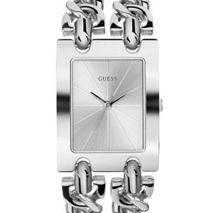Guess Silver Tone Double Link Chain Bracelet Watch
